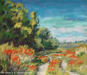 <b>California Poppies II</b><br/>20 x 18<br/>Sold<br/>