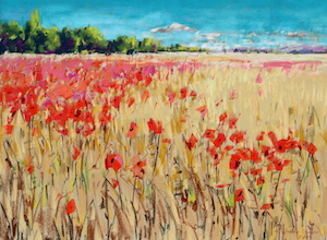<b>Corn and Poppies XIX</b><br/>24 x 18<br/>Sold<br/>