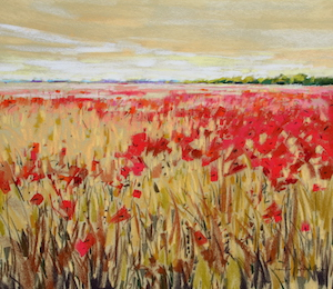 <b>Corn and Poppies XX</b><br/>20 x 18<br/>Sold<br/>