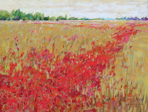 <b>Corn and Poppies X</b><br/>24 x 18<br/>Sold<br/>