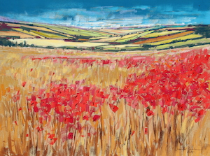 <b>Poppies and Rolling Hills, England IV</b><br/>24 x 18<br/><br/>