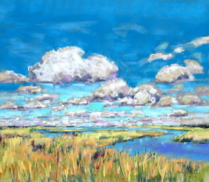 <b>Summer Clouds and Marsh</b><br/>20 x 18<br/>Sold<br/>